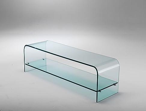 Mod. Plana - porta tv in vetro curvato