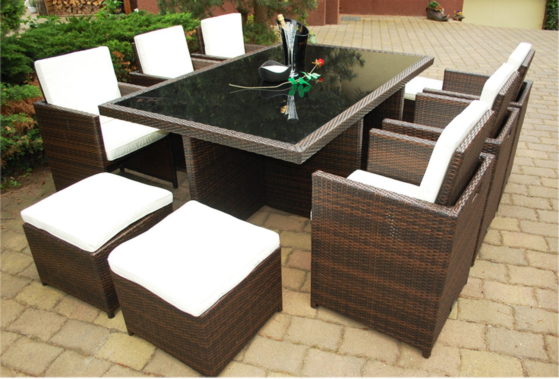 Gartenmöbel PolyRattan Essgruppe Tisch mit 6 Stühlen & 4 Hocker DEUTSCHE MARKE — EIGNENE PRODUKTION Garten Möbel incl. Glas und Sitzkissen Ragnarök-Möbeldesign braun bestellen