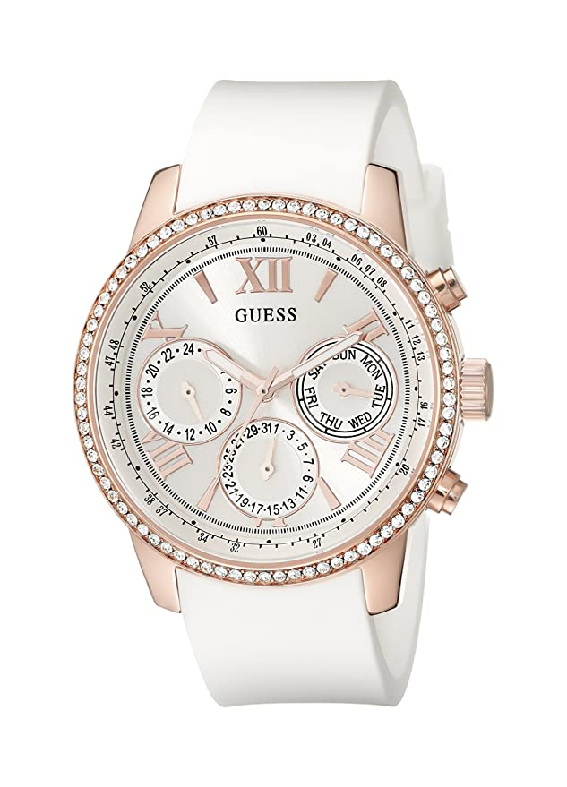 GUESS Women's U0616L1 White Silicone & Rose Gold-Tone Multi-Function Watch