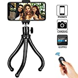 Phone Tripod, Universal Flexible Cell Phone Tripod Stand Grip Holder Mount for iPhone, Android Phone, Camera, Sports Camera GoPro, 360° Rotating Phon