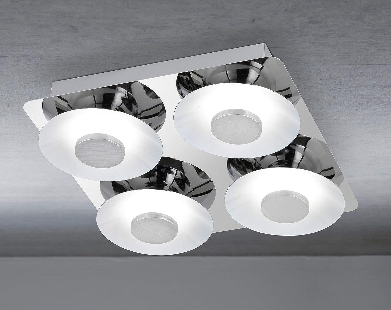 WOFI Deckenleuchte, 4.flammig, Serie Space, 4 x LED, 6 W, 20 V, Breite 30 cm, Höhe 7.5 cm, Tiefe 30 cm, Kelvin 3000, Lumen 550, chrom 9216.04.01.0000