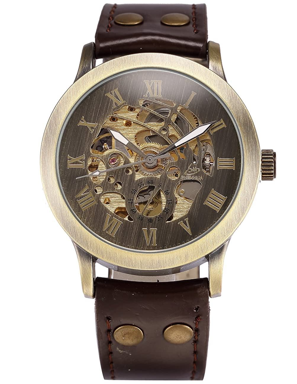 AMPM24 Men's Steampunk Bronze Skeleton Self-Winding Auto Mechanical Leather Wrist Watch PMW198 1