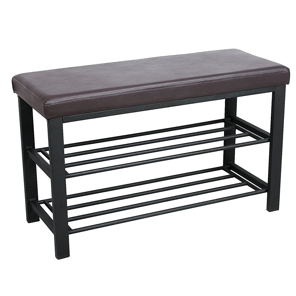 Songmics metal shoe bench 2 tier shoe rack entryway shoe storage organizer faux leather top ulbs58z Narrow entry bench