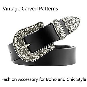 Women Leather Belts Ladies Vintage Western Design Black Waist Belt for Pants Jeans Dresses (Color: 01-black, Tamaño: Suit Waist Size 24-28)