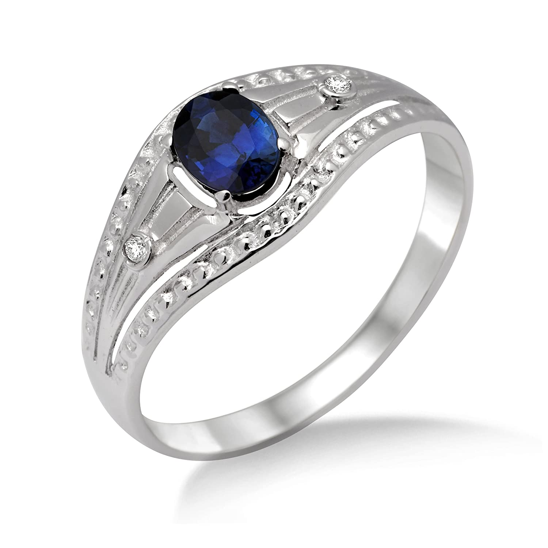 Miore Damen-Ring 375 Weißgold mit Saphir und Zirkonia MA935R günstig kaufen