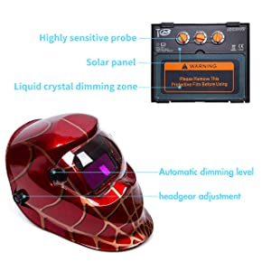 Holulo Welding Helmet Solar Power Auto Darkening Wide Viewing Field Professional Hood for MIG TIG ARC Cap Mask (Red spider) (Color: Red spider)