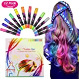 Buluri Hair Chalk, Hair Chalk Set, Hair Chalk Pens for Girls, Non-Toxic Colorful Chalk Pens Set for Temporary Hair Dye for Party, Cosplay, DIY, Theater, Halloween(12 colors)