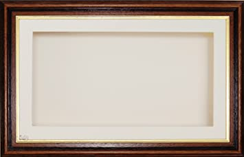 "BabyRice Large 7x13"" / 13x7"" Display Wooden Box Frame in Mahogany Gold trim effect with Cream Mount Card & Backing Card, Glass Front 14.5x8.5"""