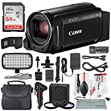 Canon Vixia HF R800 HD Camcorder (Black) Deluxe Bundle W/Camcorder Case, 64 GB SD Card, 3 Pc. Filter Kit, LED Light Kit, and Xpix Cleaning Accessories (Color: Black, Tamaño: Deluxe)