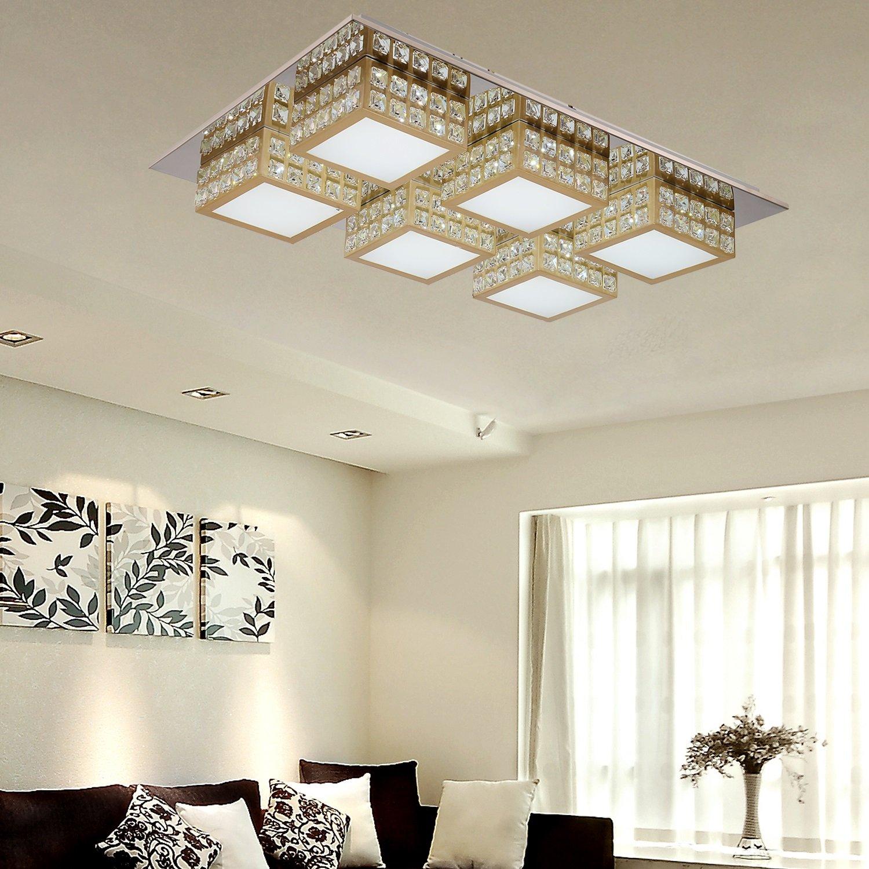 OOFAY LIGHT® einfache und graziöse LED 4 Stücke-Kristall-Deckenlampe für Wohnzimmer LED-Acryl-Deckenlampe für Schlafzimmer (golden)