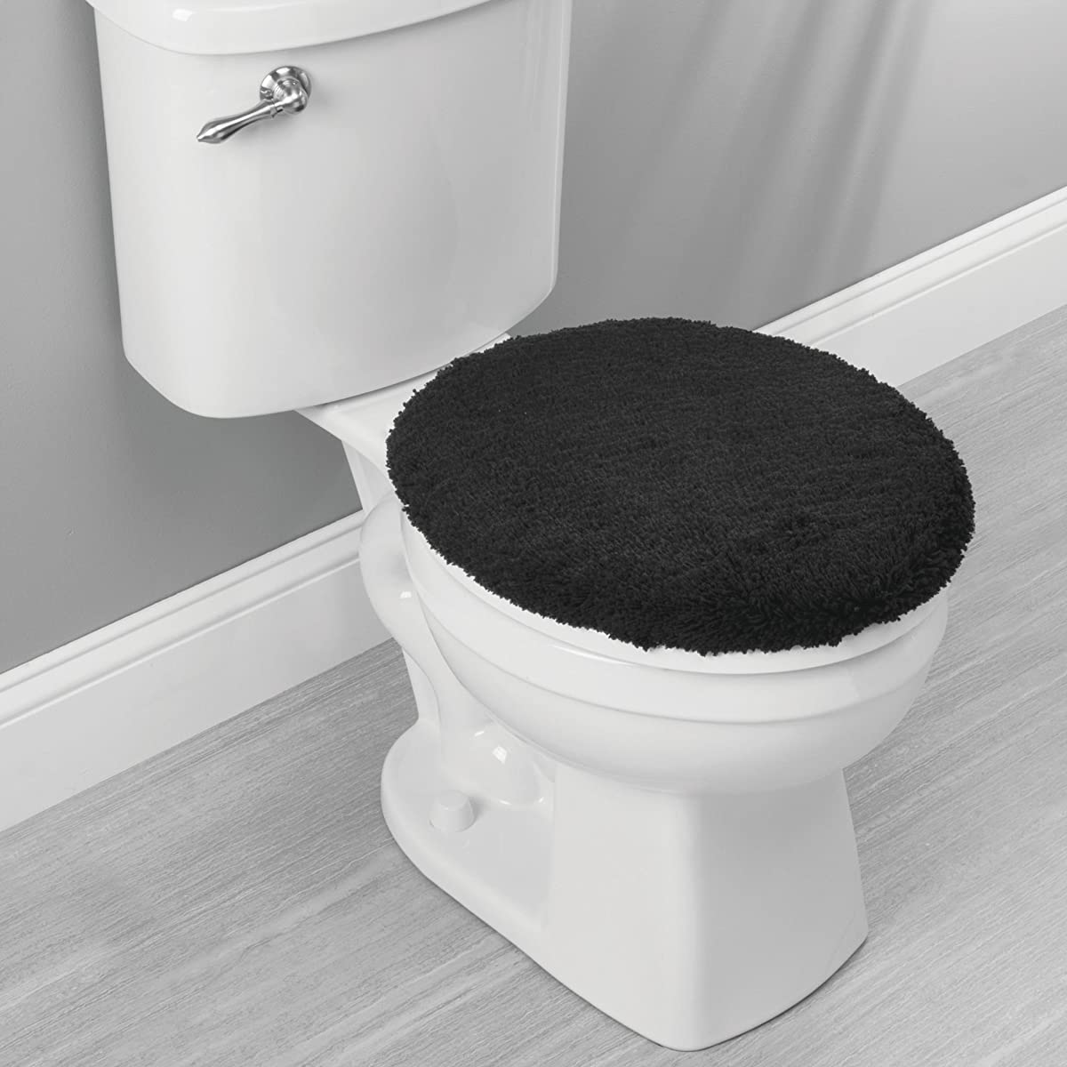 mDesign Contour, Toilet Seat Cover, and Bathroom Mat Combo Pack - Set of 5, Black