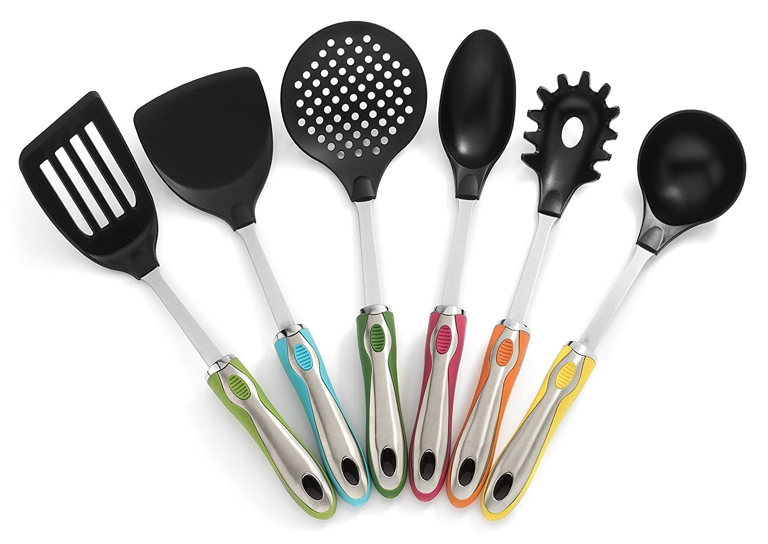 Kitchen tool gadget sets spatula spoon soup utensil holder for Colorful kitchen tools