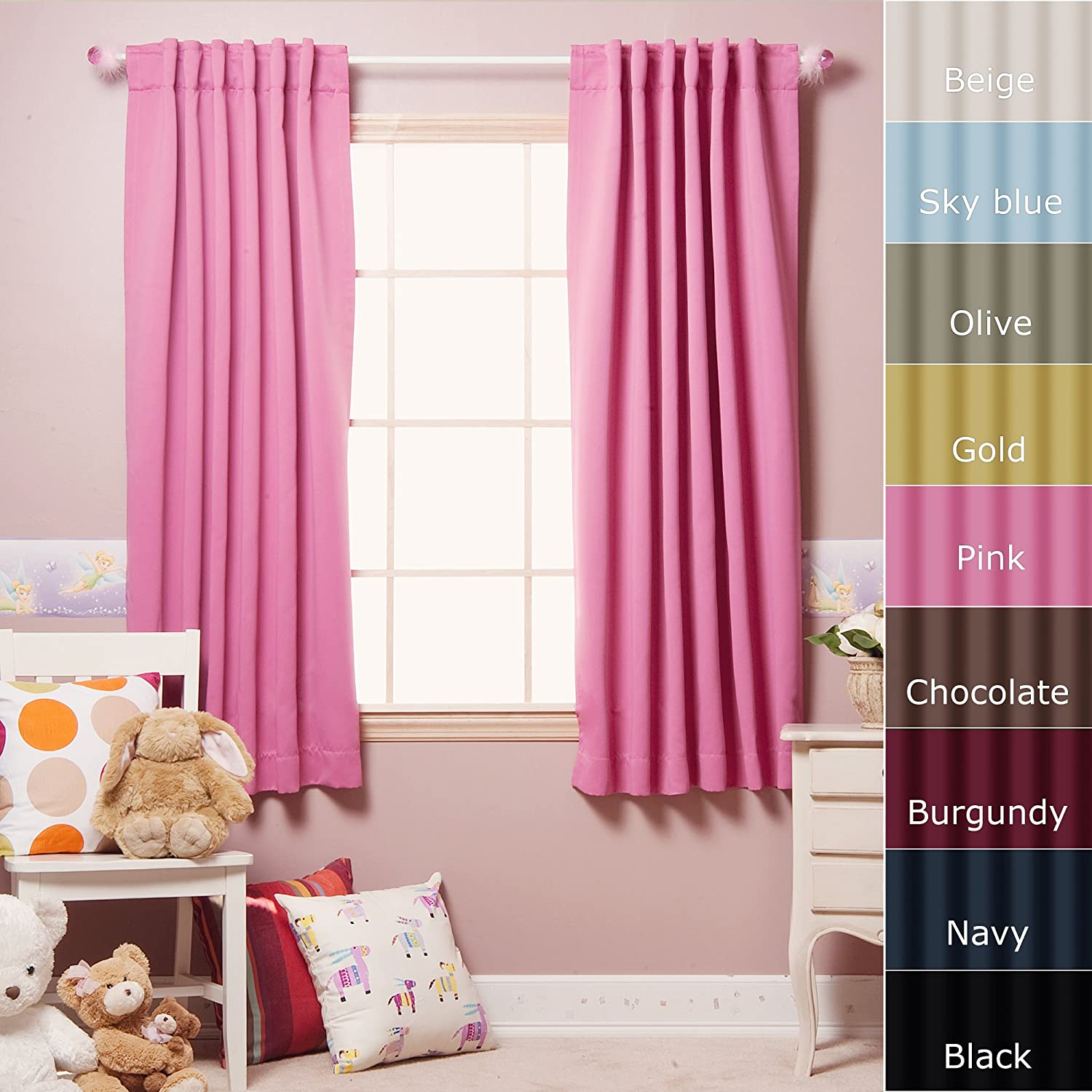Blackout curtains for bedroom - 3 Best Home Fashion 63 Inch Length Solid Thermal Insulated Back Tab Blackout Curtain