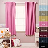 Solid Thermal Insulated Blackout Curtain 63L- 1 Set-PINK