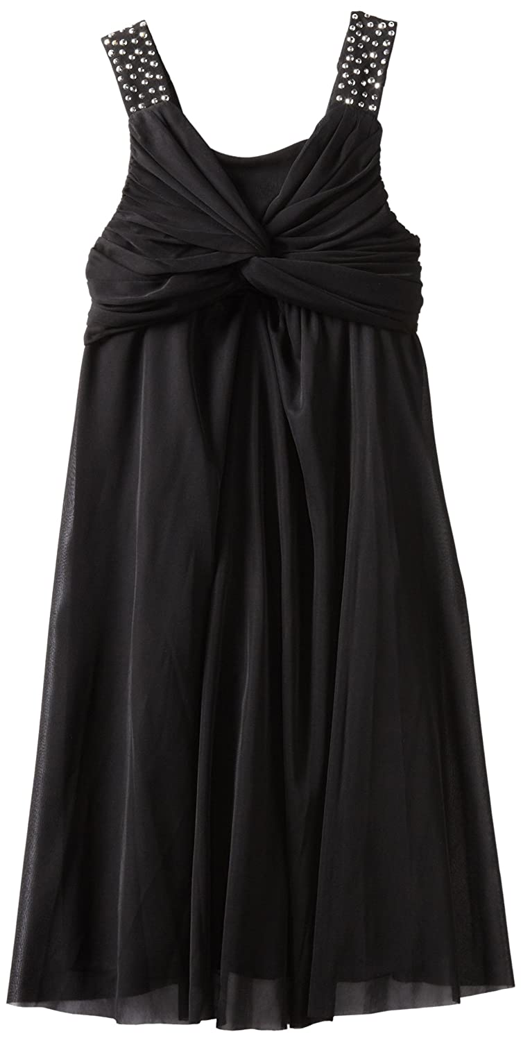 Emily West Girls 7-16 Chiffon Dress with Rhinestone Straps, Black, 16 $26.40