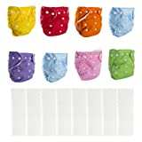 Big Elephant 8 Pack Baby Solid Color Reusable Cloth Pocket Diapers with 8 Microfiber Inserts PD-04 (Color: 8 Cloth Diapers + 8 Pack Inserts, Tamaño: One Size)