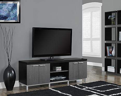 "BLACK / GREY HOLLOW-CORE 60""L TV CONSOLE (SIZE: 60L X 16W X 21H)"