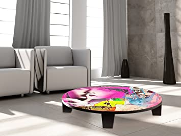 """TAF DECOR """"All our Reasons"""" Art Coffee Table, 35"""" X 35"""" X 7.5"""", Multicolored"""