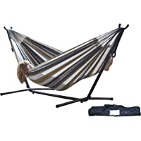 Vivere UHSDO9-25 Double Hammock with Space Saving Steel Stand (Multiple Colors)