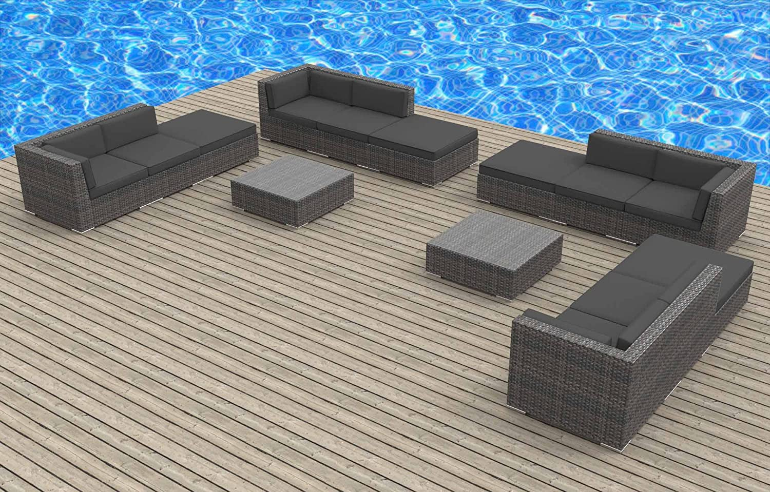 www.urbanfurnishing.net Urban Furnishing - KEY WEST 14pc Modern Outdoor Backyard Wicker Patio Furniture Sofa Sectional Couch Set - Charcoal at Sears.com