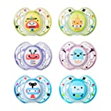 Tommee Tippee Closer to Nature Fun Style Baby Pacifier, BPA-Free, 0-6 Months, 2 Count (Colors May Vary) (Color: Red/Yellow, Tamaño: 0-6 Months)