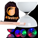 Juggle Dream LED Big Top Light Up Bearing Diabolos Set, Hardwood Diablo Sticks, Diabolo string & Firetoys Bag!