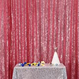 PartyDelight Sequin Backdrop 4FTX6.5Ft Fuchsia Pink for Wedding Curtain, Party, Photo Booth. (Color: FuchsiaPink, Tamaño: 4X6.5)