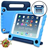 Pure Sense Buddy [Anti-Microbial Kids CASE] Child Proof case for iPad Mini 4 | Rugged Cover with Stand, Handle, Shoulder Strap | A1538 A1550 (Blue) (Color: Blue, Tamaño: iPad Mini 4)