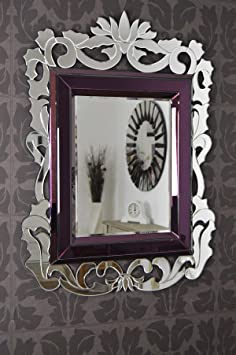 Large Purple Venetian French Baroque Wall Mirror