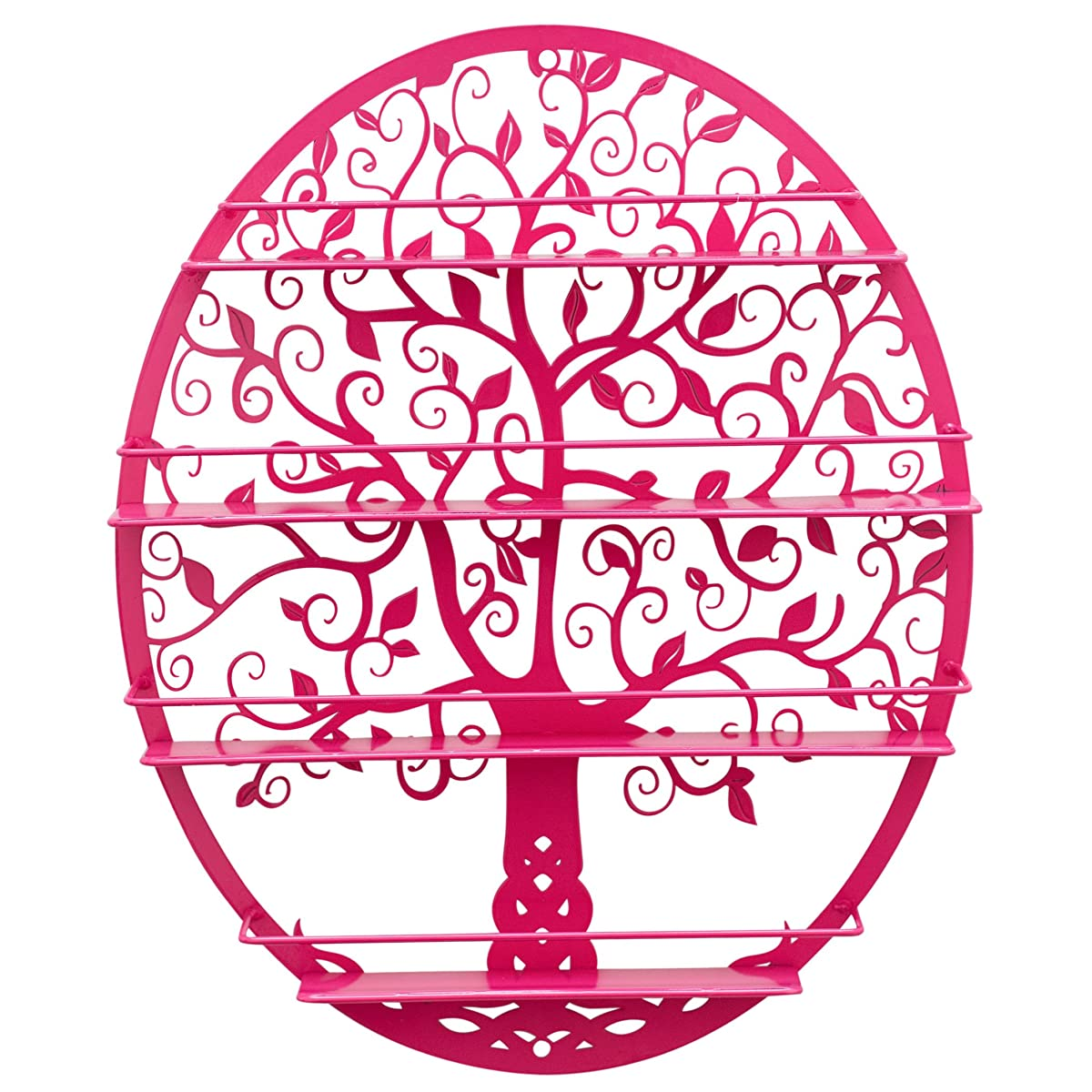Essential Oils & Nail Polish Storage - Display Holder Organizer Shelf from SoCal Buttercup - Oval Black Metal with Tree Silhouette - Wall Mounted Round Rack Oil Bottle Storage (Pink)