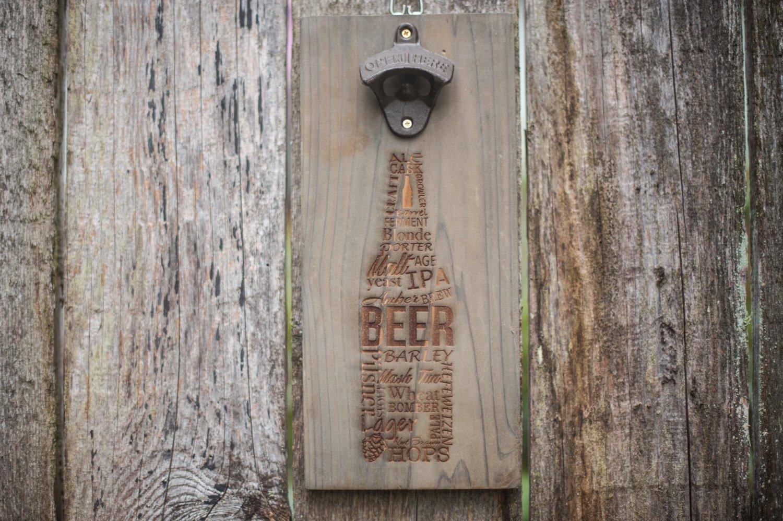 Wall Mounted Bottle Opener Rustic Wood Laser Engraved