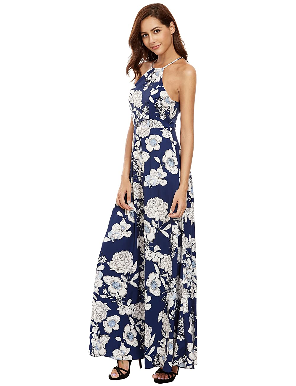 Floerns Women's Sleeveless Halter Neck Vintage Floral Print Maxi Dress 0