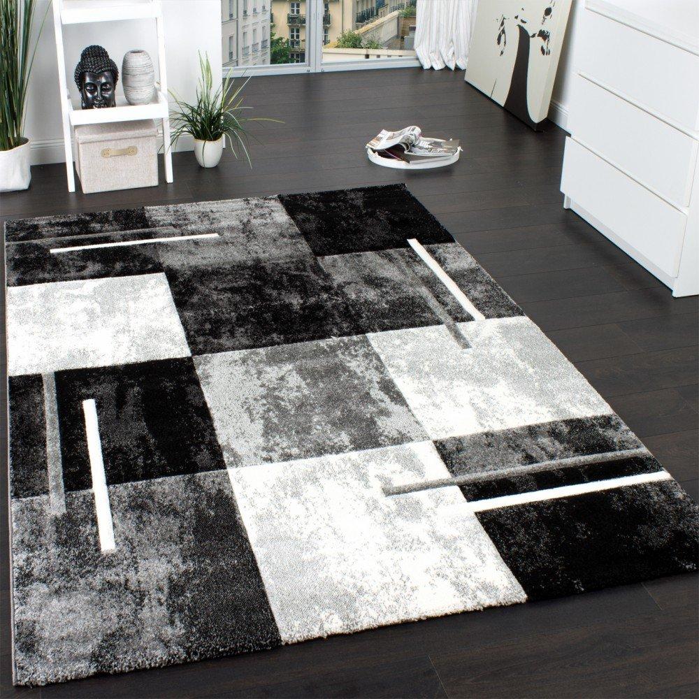 Designer Teppich Modern mit Konturenschnitt Karo Muster Marmor Optik Grau Creme, Grösse160x230 cm    Überprüfung und Beschreibung