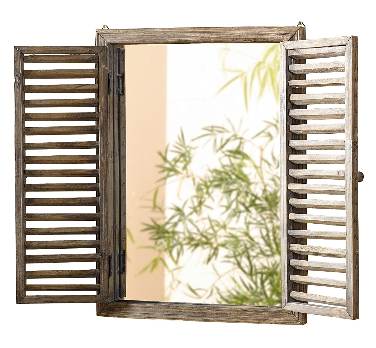 Shuttered Mirror with Frame - Rustic Mirror with Wooden Frame and Shutter Design Product SKU: HD223944 0