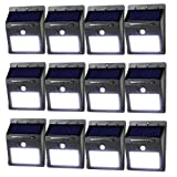 LeadTop Solar Motion Sensor Light 20 LED Solar Powered Wireless Weatherproof Security Wall Lights for Outdoor Yard Garden Driveway Pathway Pool (12-Pack) (Color: Black, Tamaño: 12-Pack)