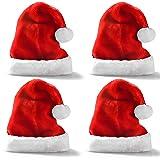 Premium Santa Hats (4 Pack), Plush Red Velvet Christmas Hats with White Cuffs