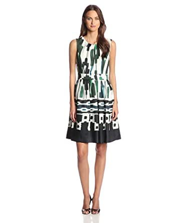 Ellen Tracy Women's Sleeveless Printed Fit and Flare Dress, Scarf Print, 8