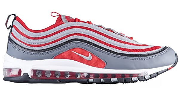 NIKE Men's Air Max 97, Dark GreyWolf Grey Gym RED, 9.5 M US