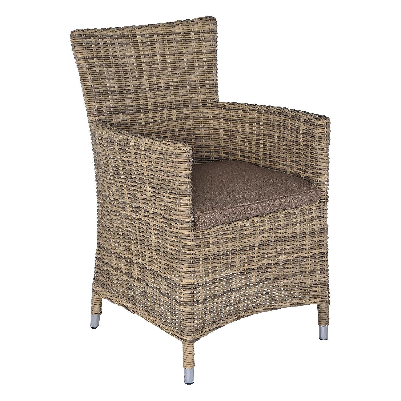 2 Gartenstühle hellbraun Rattanoptik mit Sitzkissen Gartensessel Poly Rattan Garten kaufen