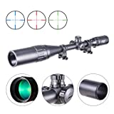 Pinty 6-24x50 AO Red Green Blue Illuminated Mil Dot Scope with Sunshade Tube & Flip-Open Covers (Color: black, Tamaño: 6-24x50)