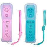 Poulep 2 Packs Wireless Controller for Nintendo Wii/Wii U Console with Silicone Case and Wrist Strap (Pink and Blue) (Color: Pink and Blue)