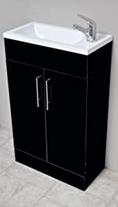 Zola Black Square Basin Bathroom Furniture Cloakroom Compact Vanity Unit 500 X 250       review and more information