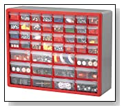 Plastic Parts Storage Drawers Red and Gray
