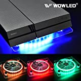 WOWLED Cooling Fan Mini 3 keys Control Gaming USB RGB LED Cooler Thermal Fan Pad for PS4 Playstation 4 XBOX One X Consoles Laptop Notebook PC CPU Coolers Computer Cooling Strip Light Case Fan (Color: RGB Case Fan)