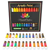 Acrylic paint set 24 colors for Artists. Brush set. Paint kit for Canvas, Rocks, Wood, Ceramic, Fabric, Crafts. Non-Toxic & Vibrant-Perfect for Adults, Kids, Beginners, students. Rich Pigment & qualit