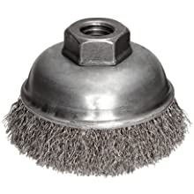 Weiler Wire Cup Brush, Threaded Hole, Stainless Steel 302, Crimped Wire