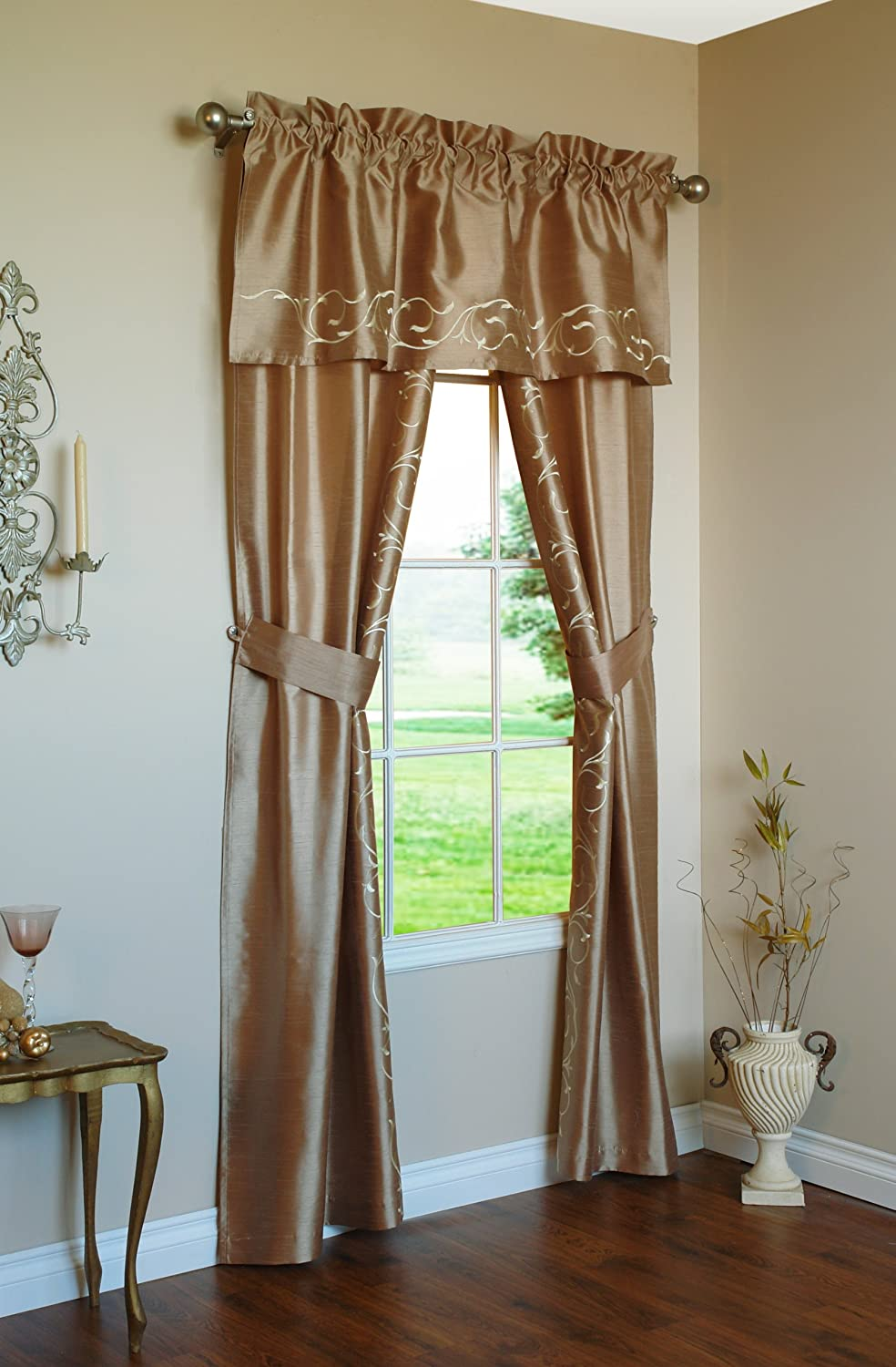 Royalton Curtains With Valance Amp Tie Backs Set Faux Silk