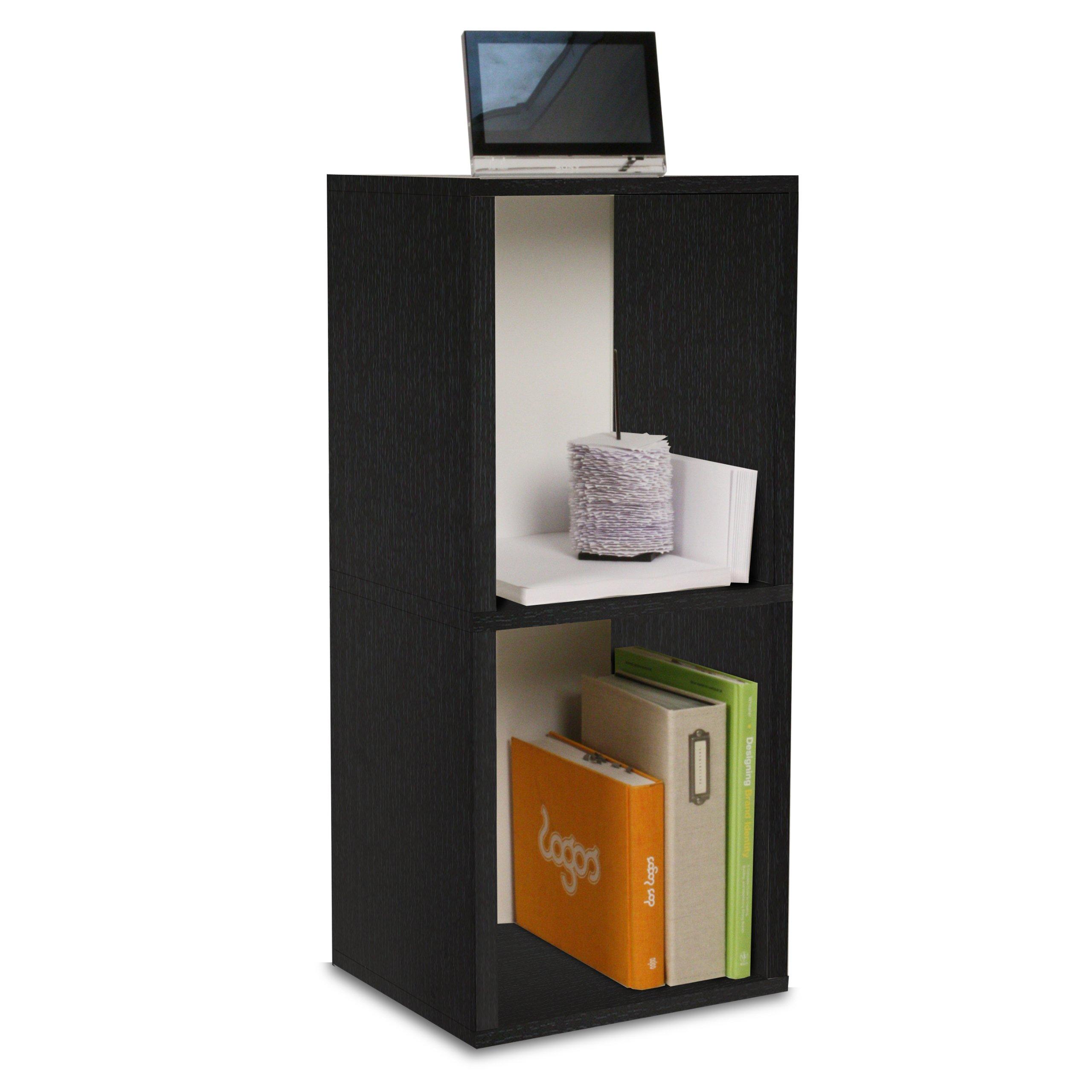 Way Basics ZBoard Eco Storage Cube Plus 2 Shelf Storage Unit, Black Wood  Grain