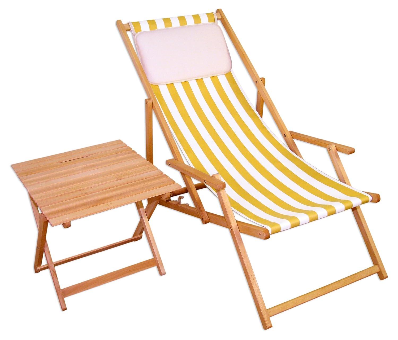 Sonnenliege Gartenliege Deckchair Saunaliege + Tisch Beige jetzt kaufen