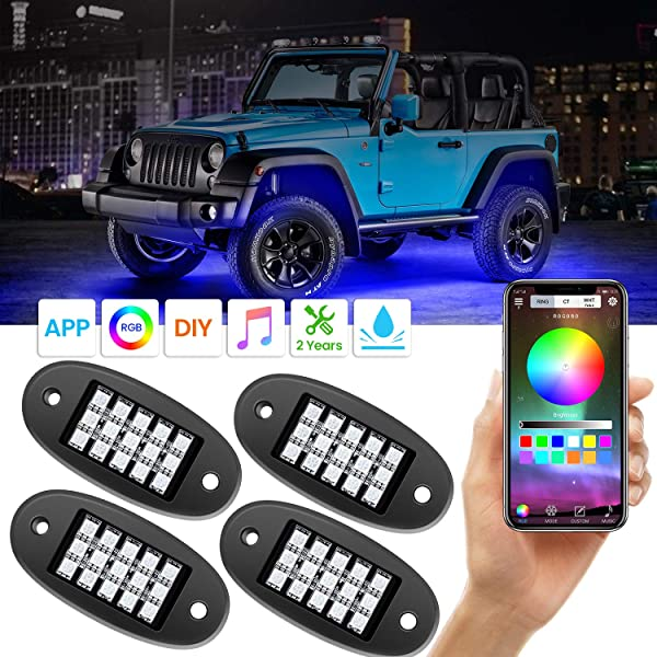 LED Rock Lights AKD Part Rock Lights Bluetooth Jeep Rock Lights 4 Pods Multicolor RGB Rock Lights Neon LED Lights Kit For Truck Off-Road LED Lights Bluetooth Waterproof For Boat UTV ATV SUV Marine